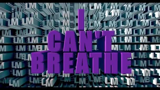 Písmena velkými fialovými písmeny I CANT BREATHE na bílých písmenech BLM pozadí 3d vykreslování
