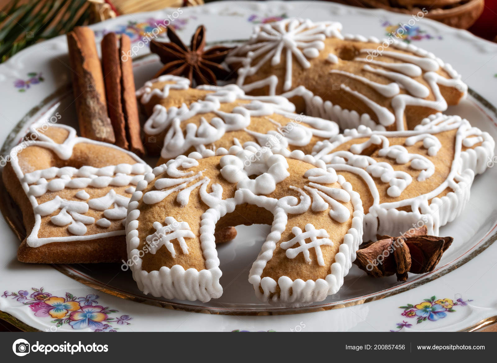 Christmas Gingerbread Cookies Cinnamon Star Anise Plate Stock