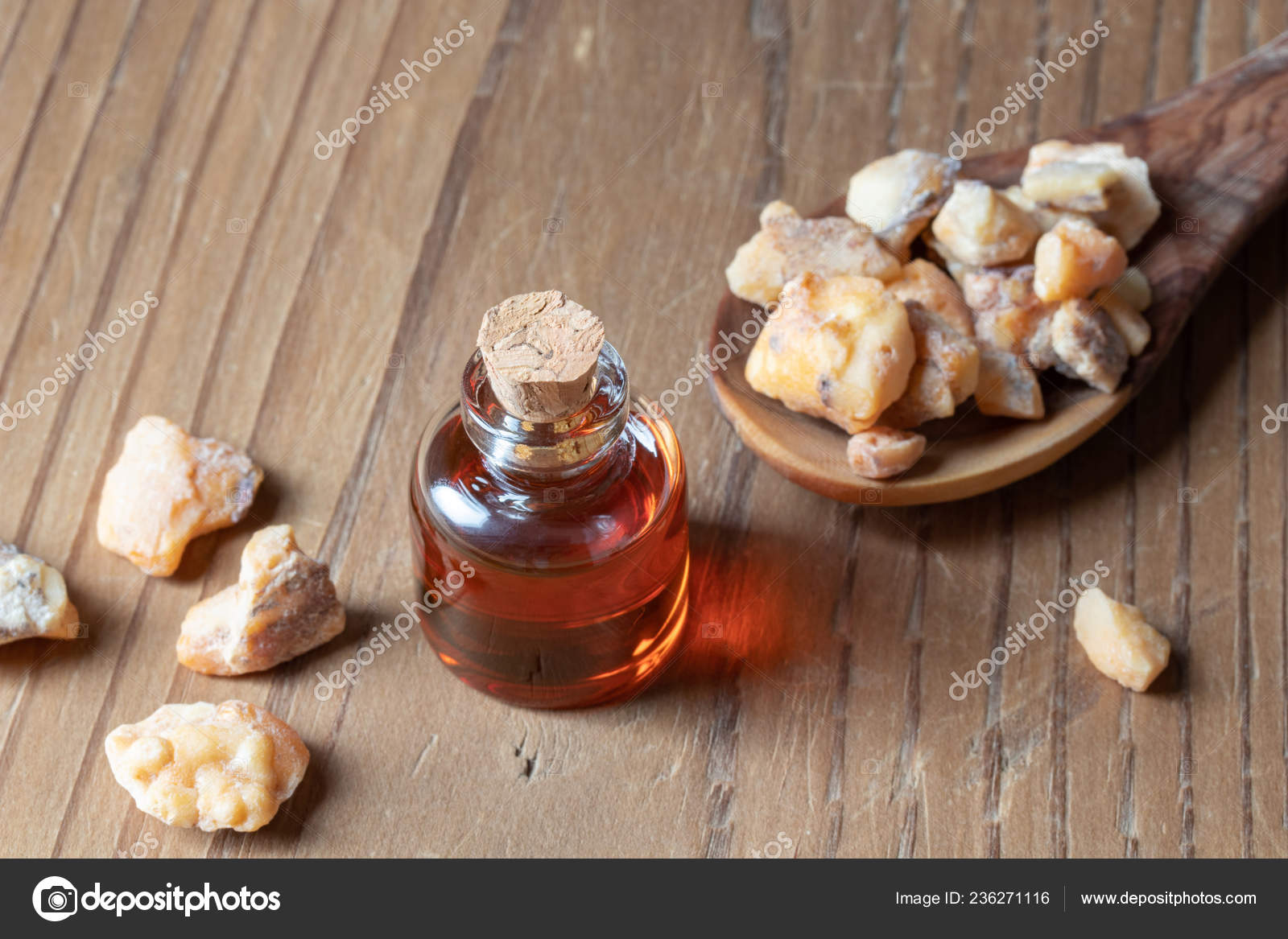 Bottle Styrax Benzoin Essential Oil Resin — Stock Photo