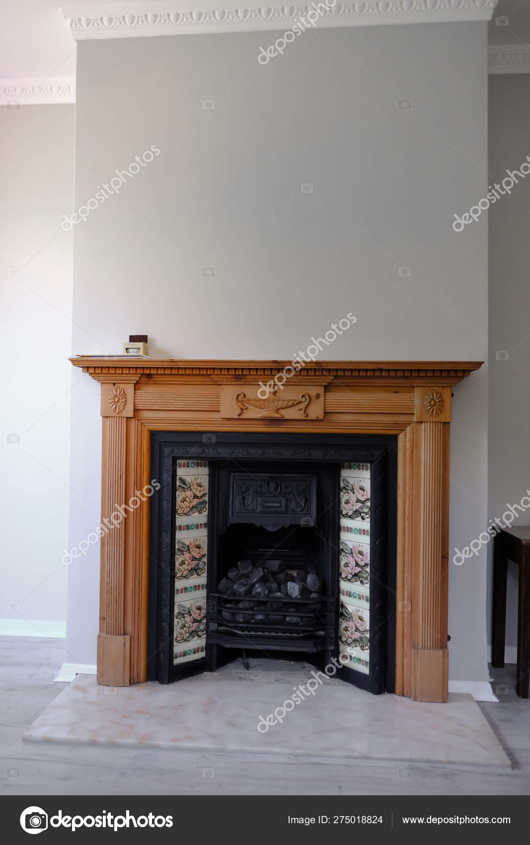 Black Cast Iron Victorian Fireplace Traditional Tiles Marble Hearth Portrait Stock Photo C Jean Cuomo 275018824