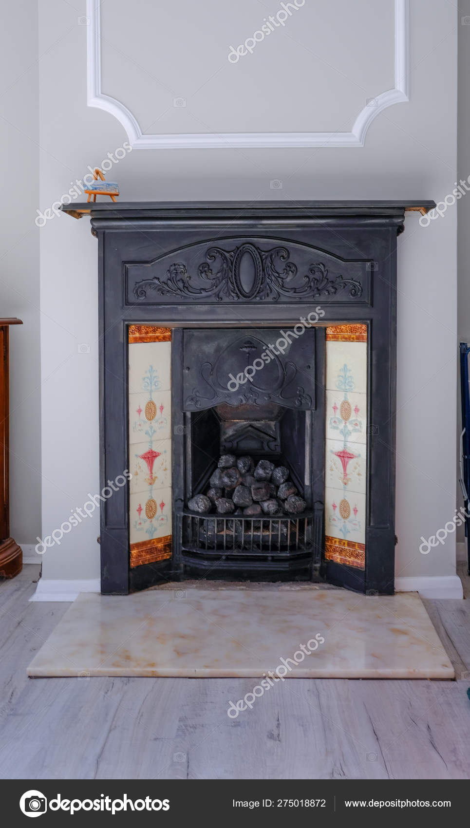 Black Cast Iron Victorian Fireplace Traditional Tiles Marble Hearth Portrait Stock Photo C Jean Cuomo 275018872