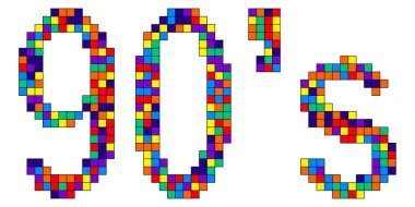 90s - colorful pixel inscription. Figures from squares of different colors. Nostalgia for the 90s, computer 8-bit games. Element for apps, posters, banners, flyers, cards and prints on clothing. Stock vector picture.