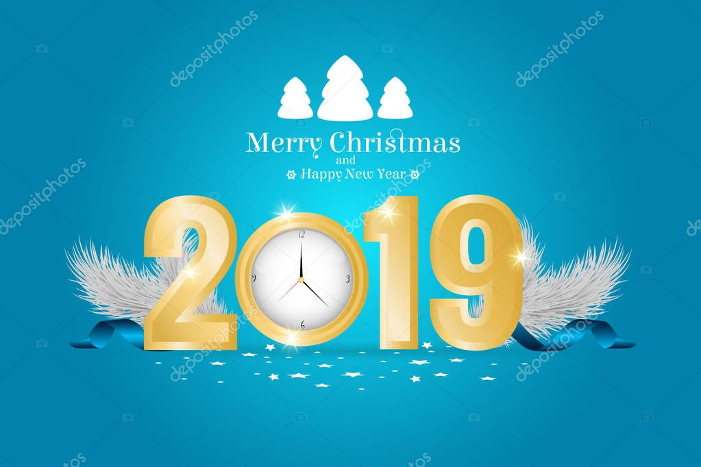 Brochure on Merry Christmas and Happy New 2019 Year theme