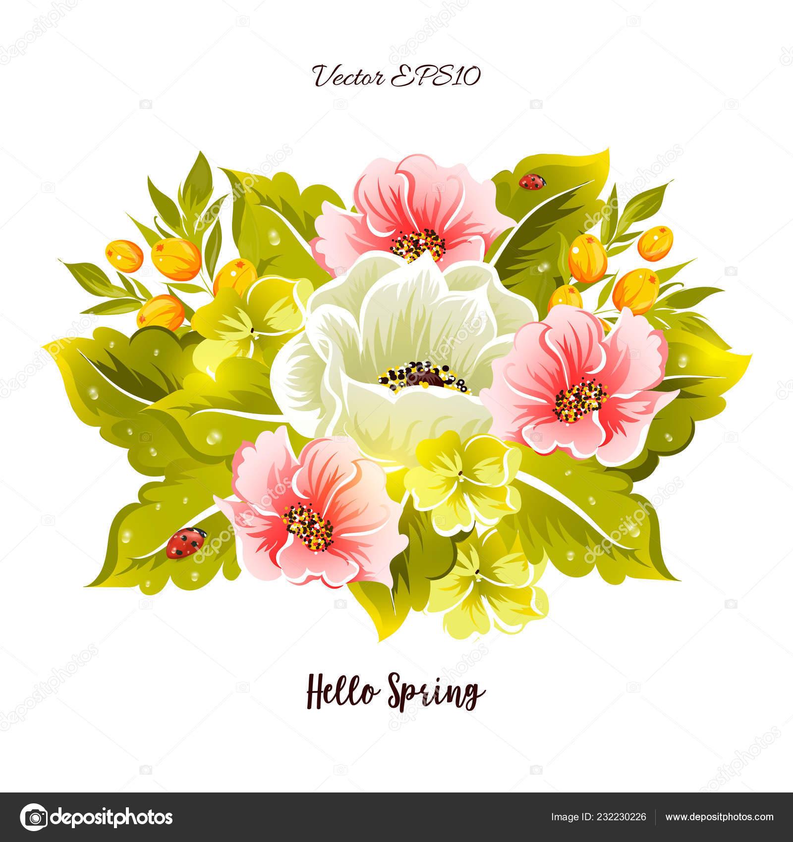 Hermosas Flores Hojas Bayas Con Mariquita Y Rocío Gotas