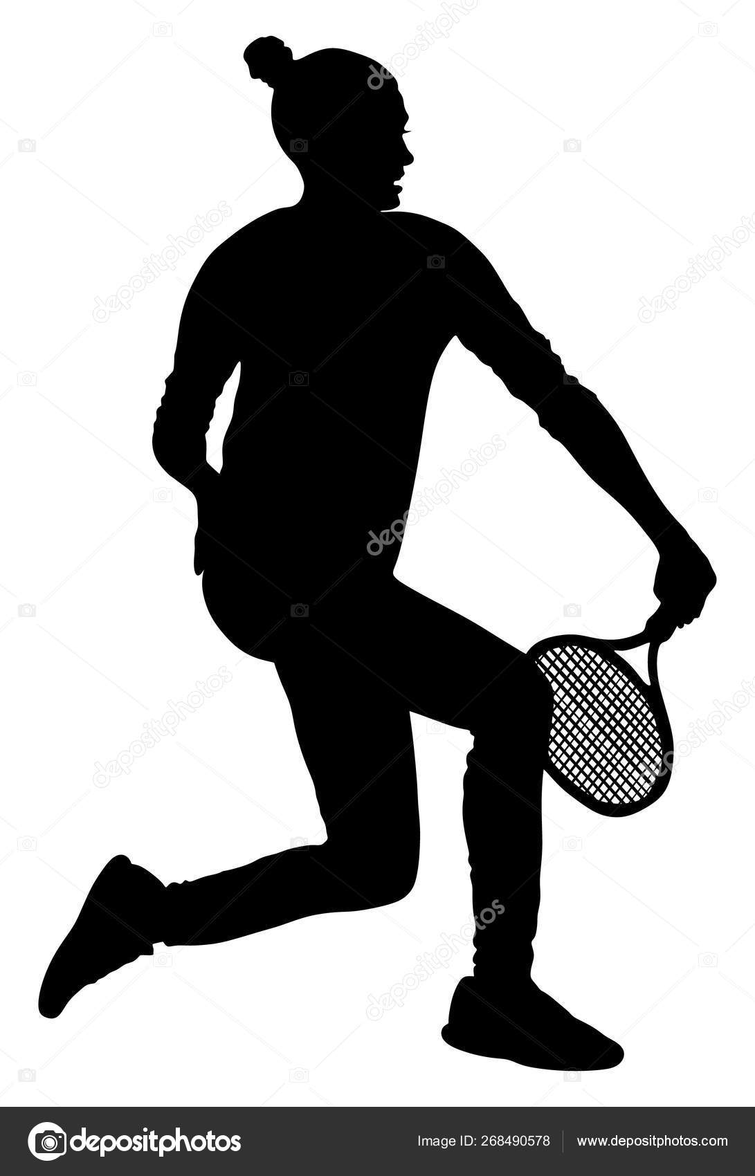 Woman Tennis Player Vector Silhouette Isolated White
