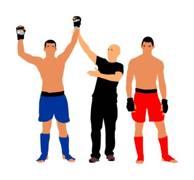 Referee declares the winner of the match.Martial art sportsman celebrate win after fight match, welcomes audience, isolated on white. Boxer fighter winner celebrates victory vector illustration. Unanimous decision of the judge. MMA champion.