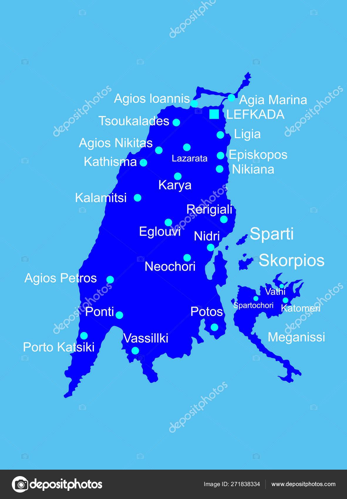 Island Lefkada Greece Vector Map Silhouette High Detailed