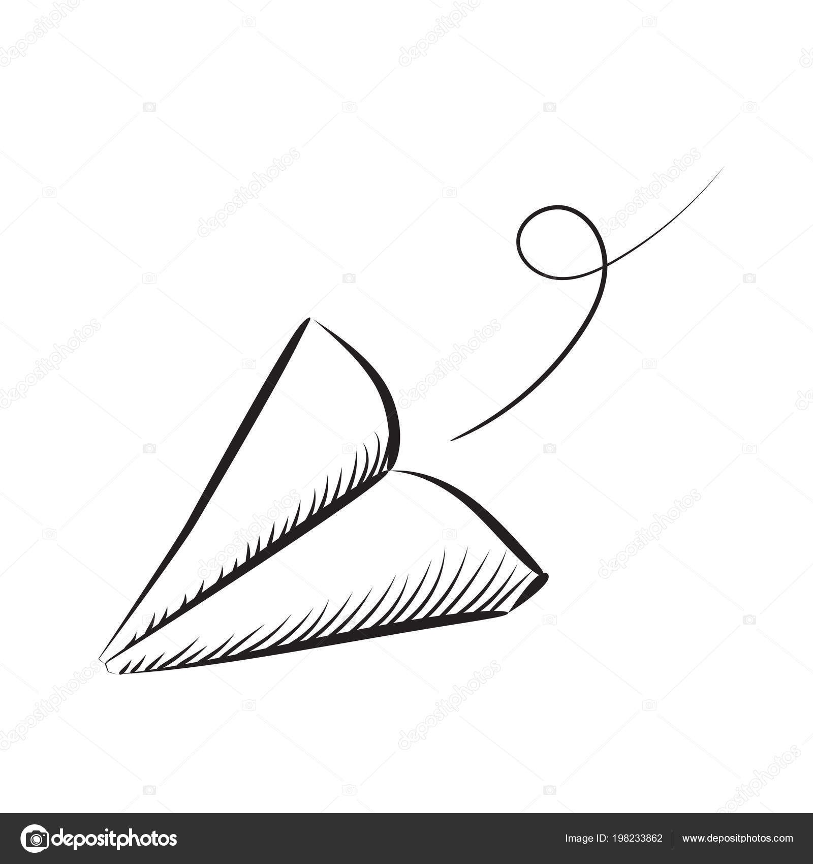 Sketched Paper Plane Vector Illustration Hand Drawn Simple