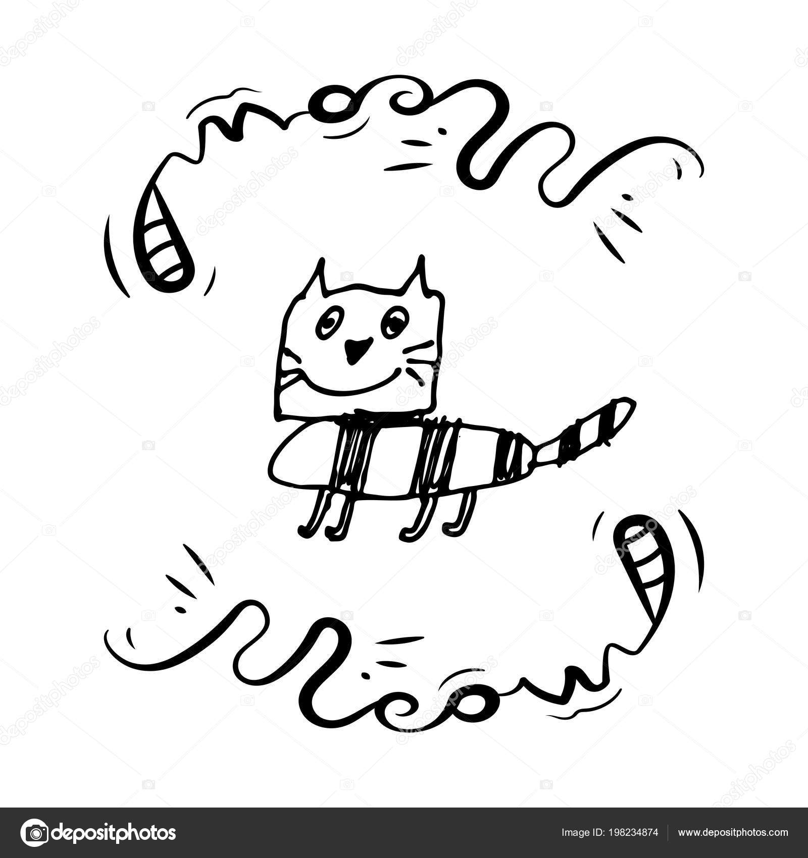 Dessines Main Noir Blanc Simple Doodle Cat Style Grunge Dessin