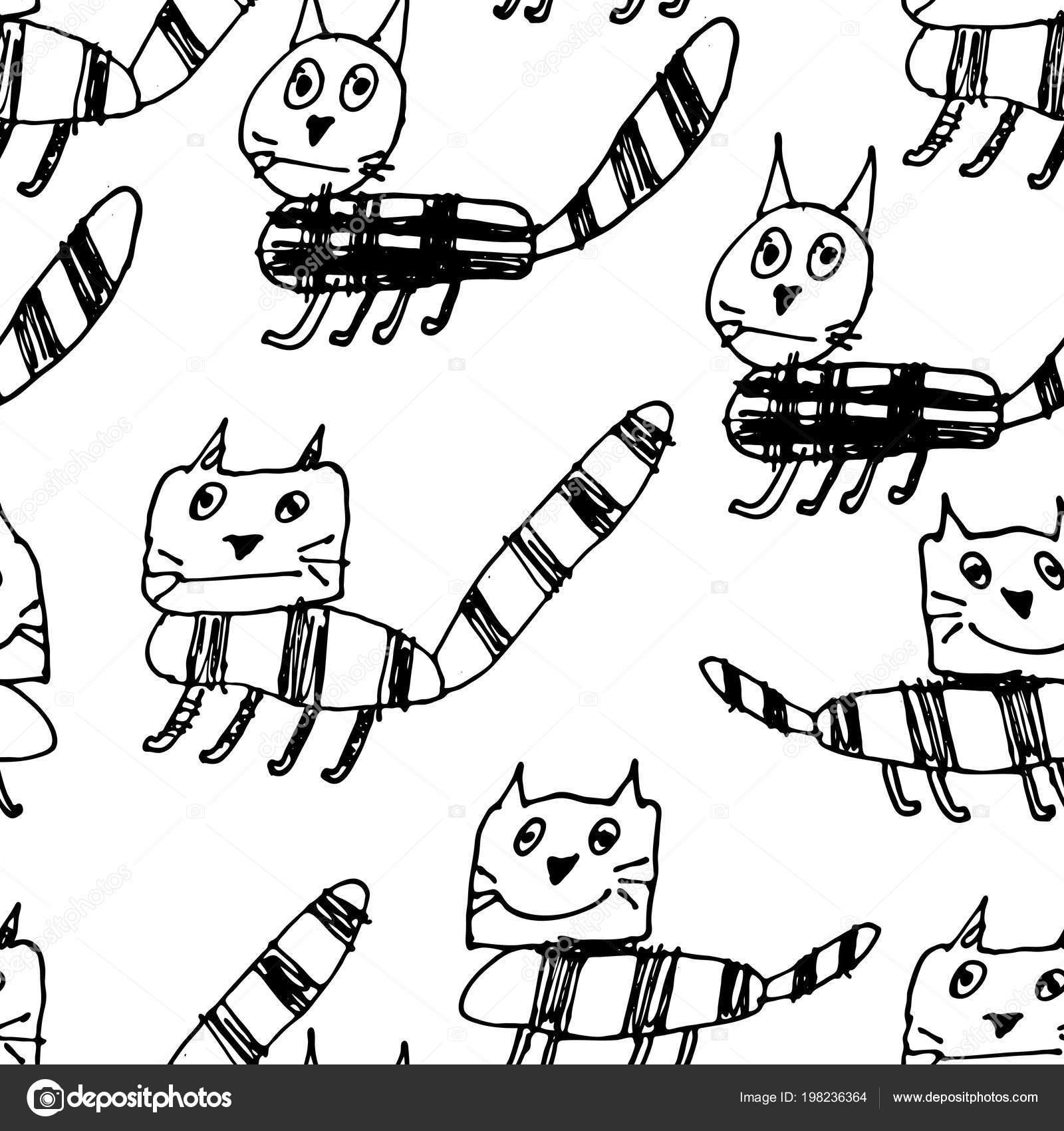 Hand Gezeichnet Schwarz Weiß Einfach Doodle Katze Muster Kinder Stil
