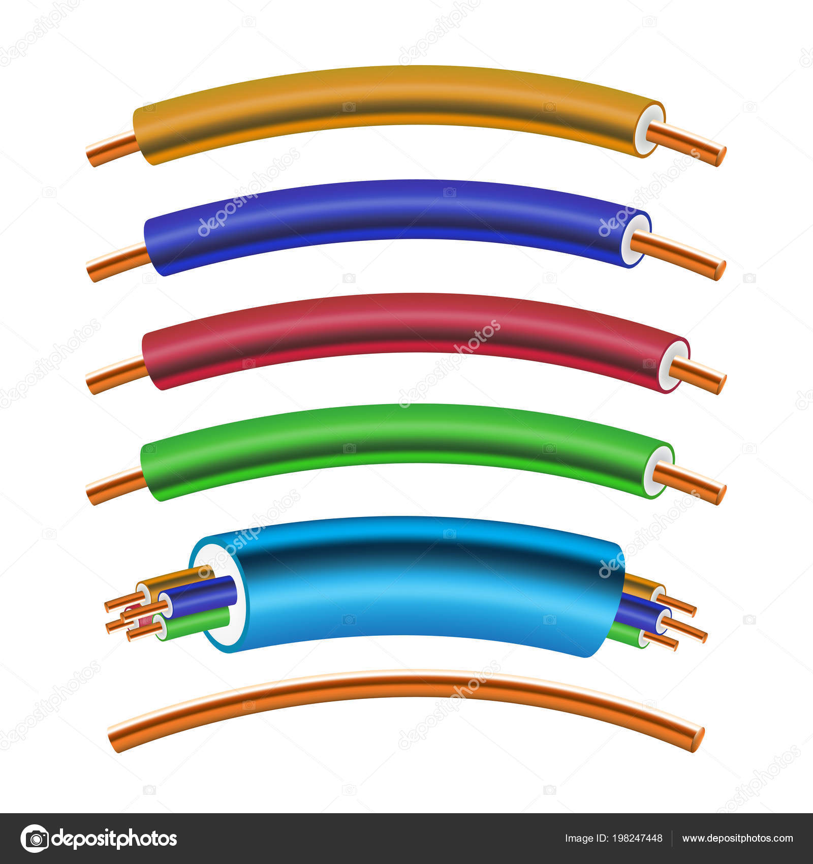 Set Electric Power Cable Isolated White Electrical Copper Wires Wire Cords Stock Vector