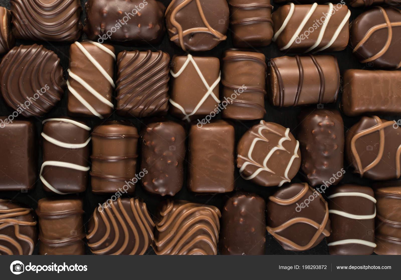 Beautiful Creative Chocolate Sweets Natural Black Stone Background