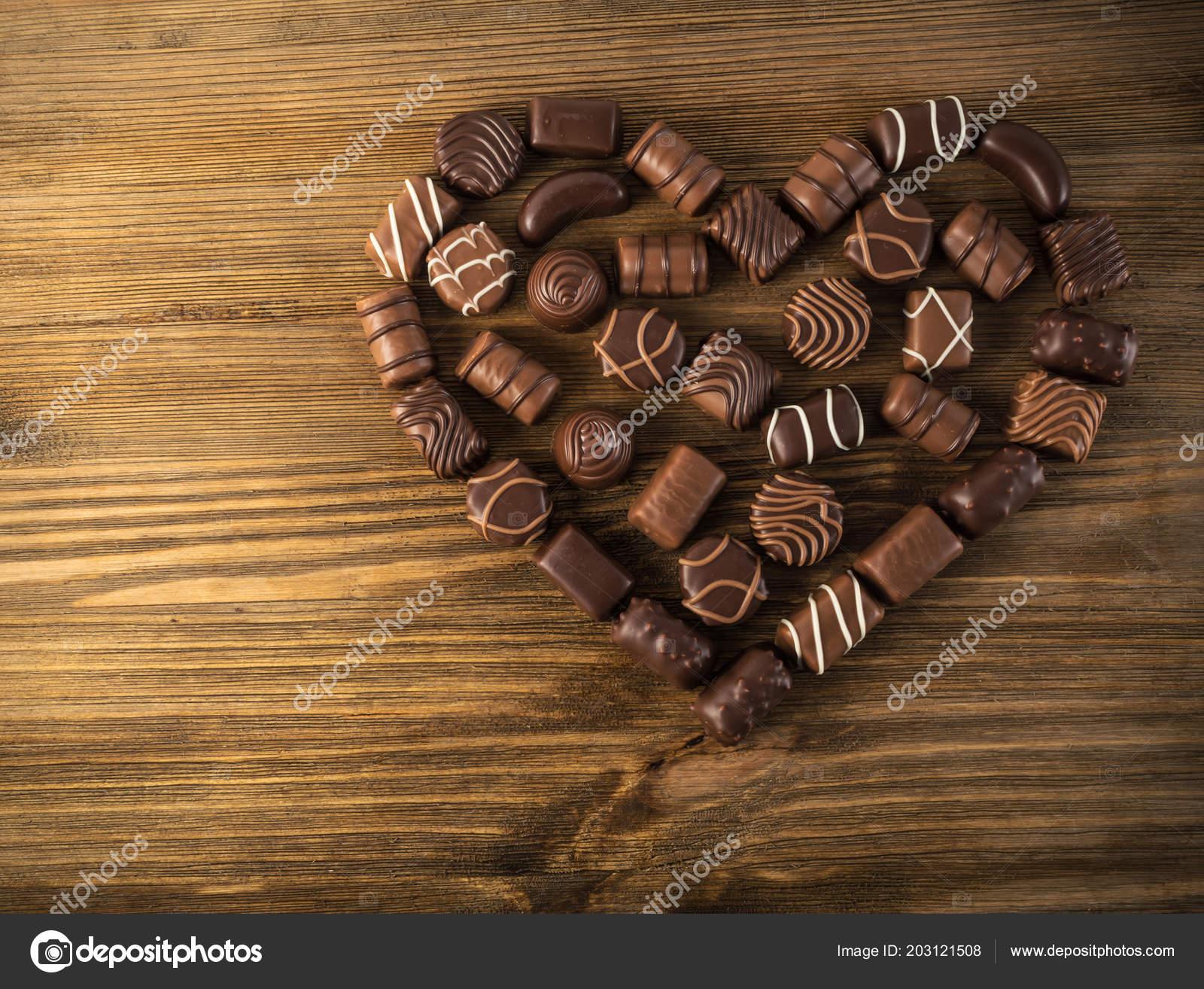 Beautiful Creative Chocolate Heart Shape Made Various Types Pralines