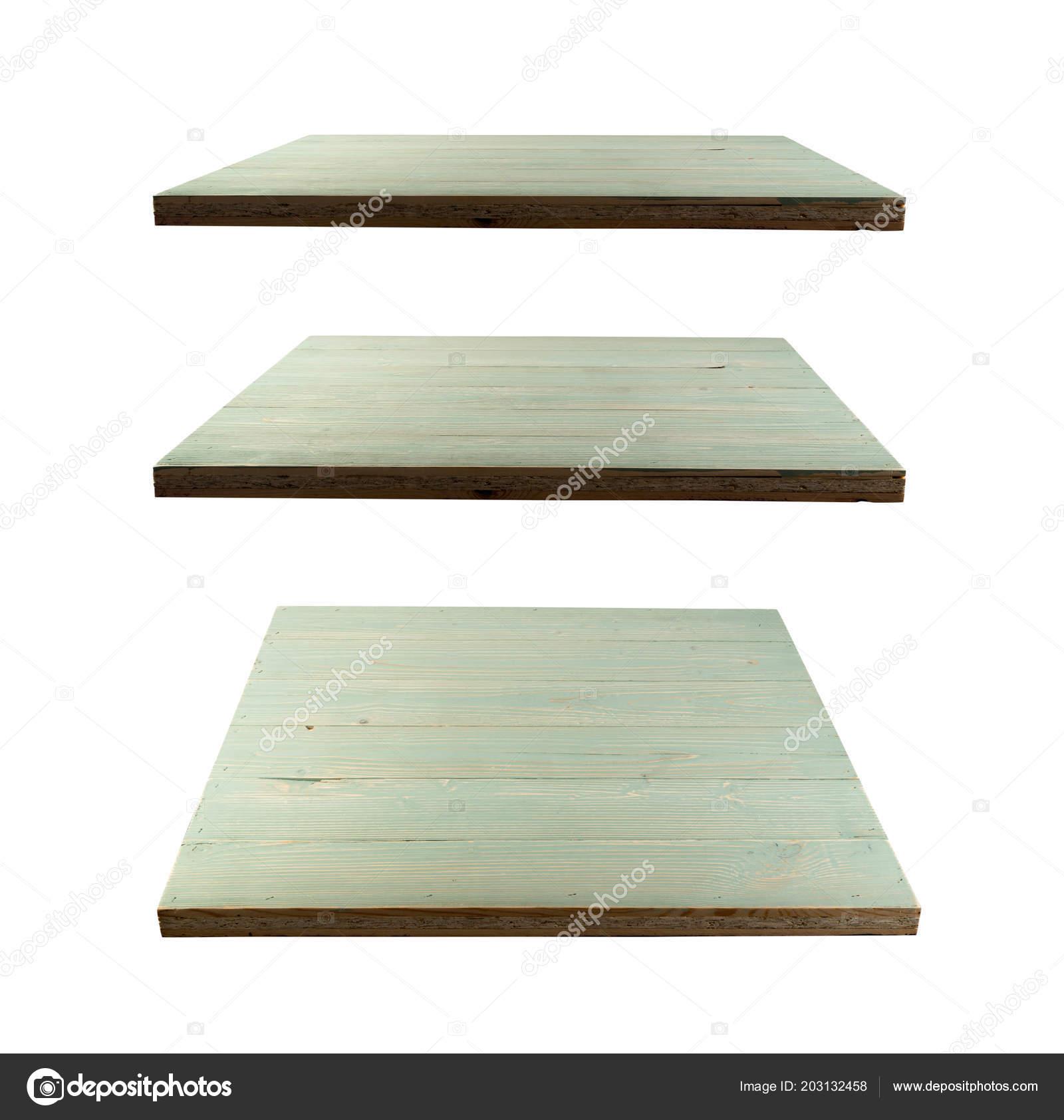 набор бирюзовый деревянные столы изолированные белом фоне