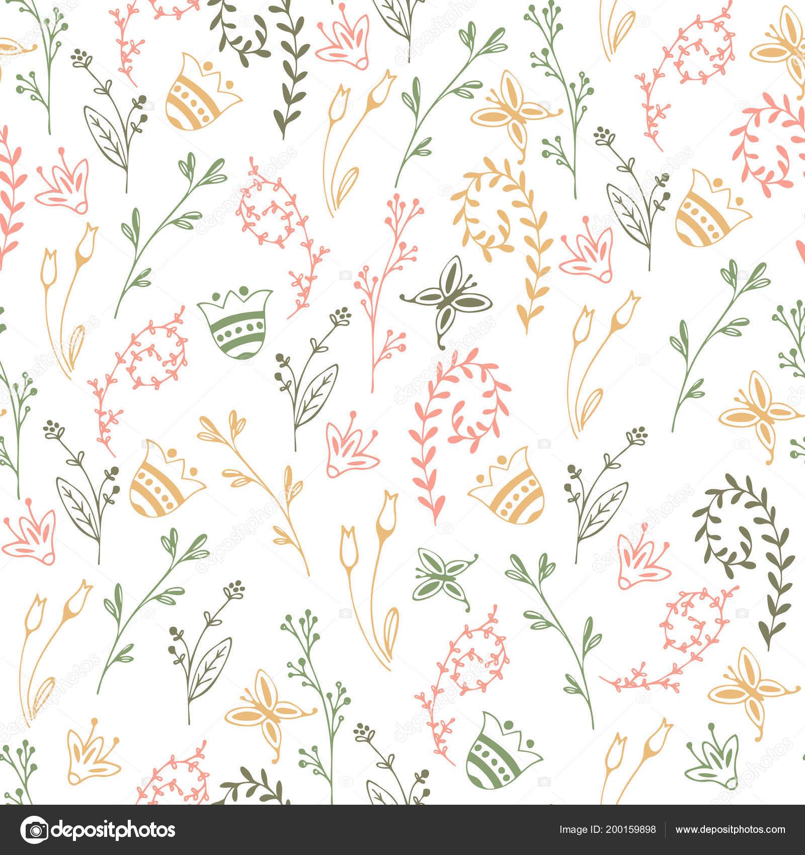 Flower simple minimalistic seamless pattern \u2014 Stock Vector