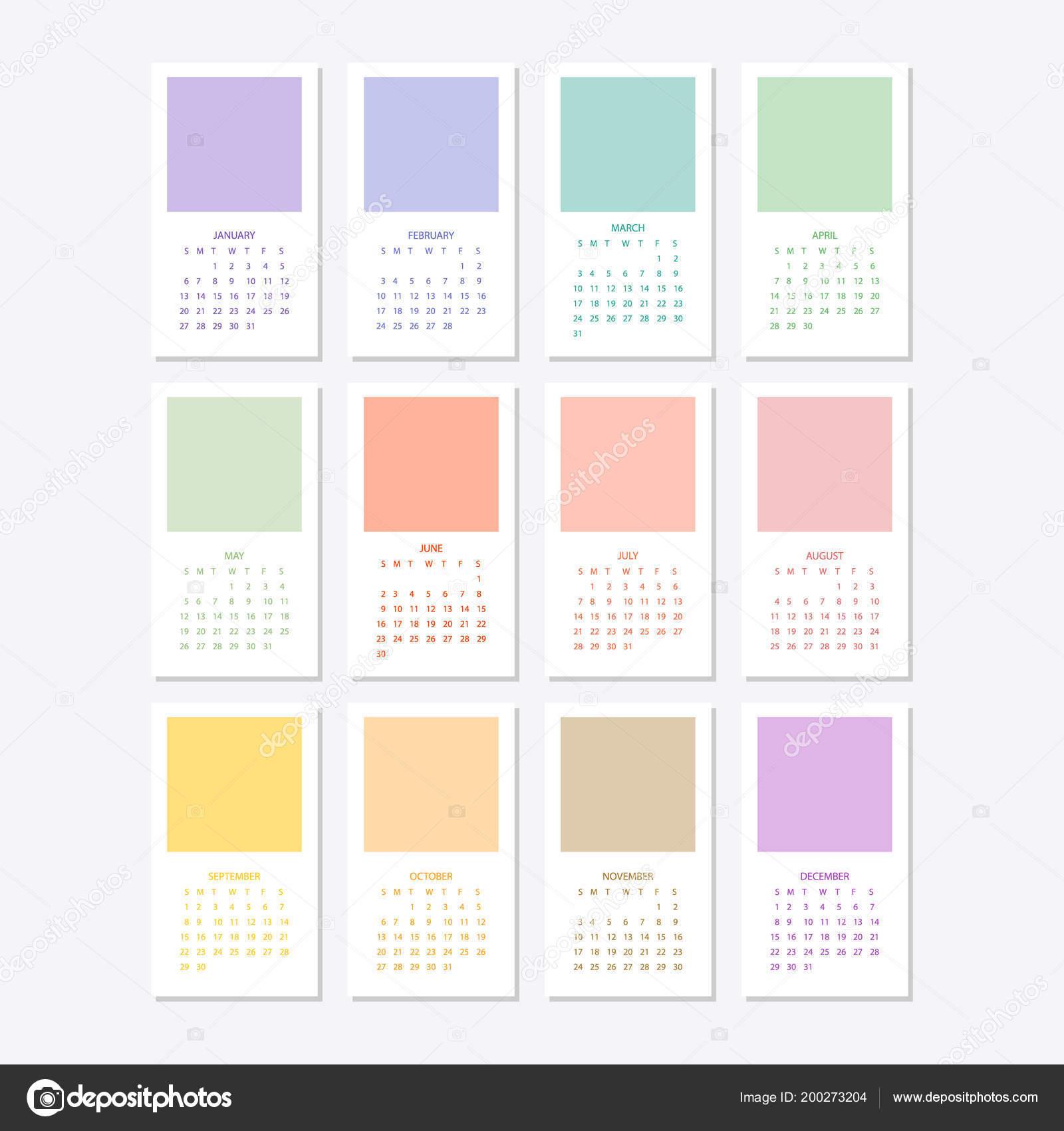 2019 カレンダー テンプレート デザイン ストックベクター