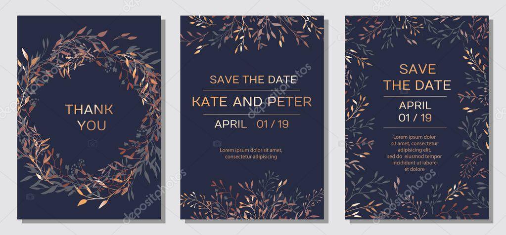 Copper elegant floral invite set modern card