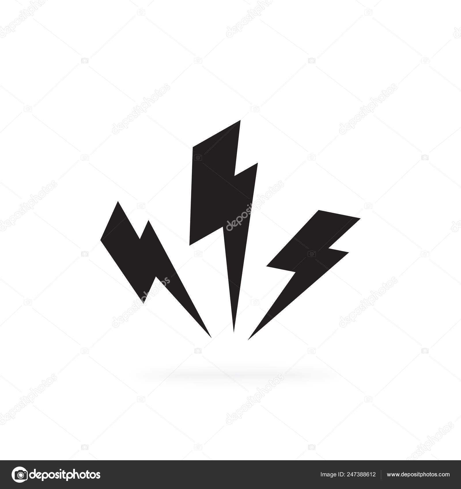Black Lighting Strike Simple Vector Icon Isolated Battery Charger