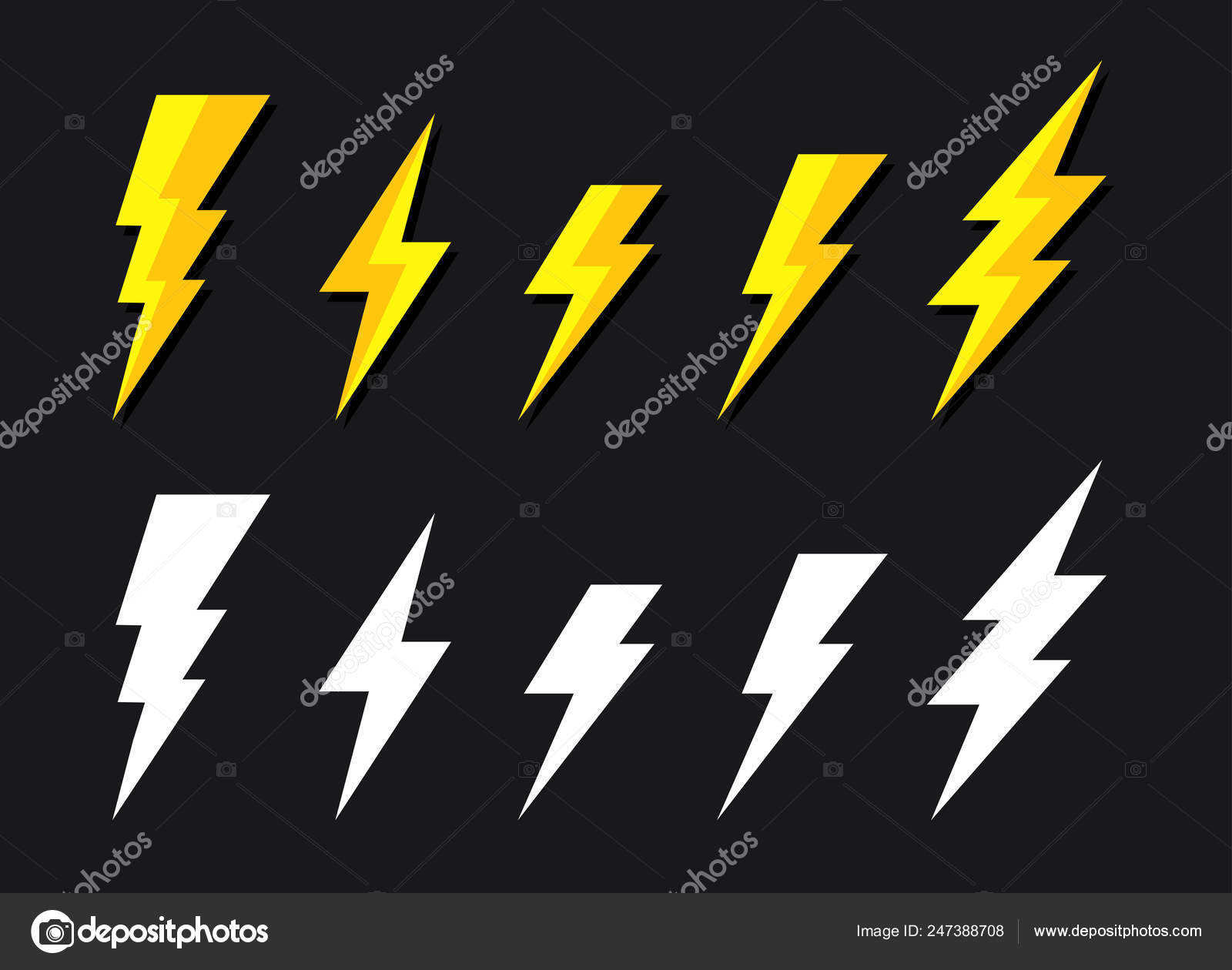 Yellow Lighting Strike Simple Vector Icon Isolated Battery Charger ...