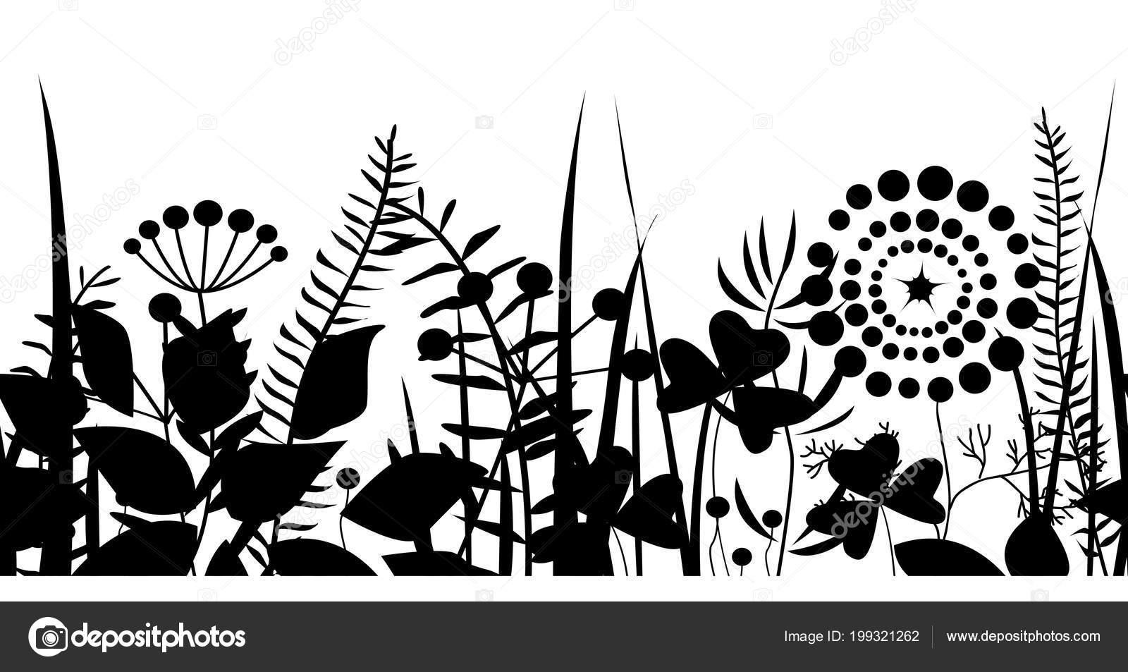 spring black grass silhouette seamless background vector pattern eco nature stock vector c toltemara 199321262 depositphotos