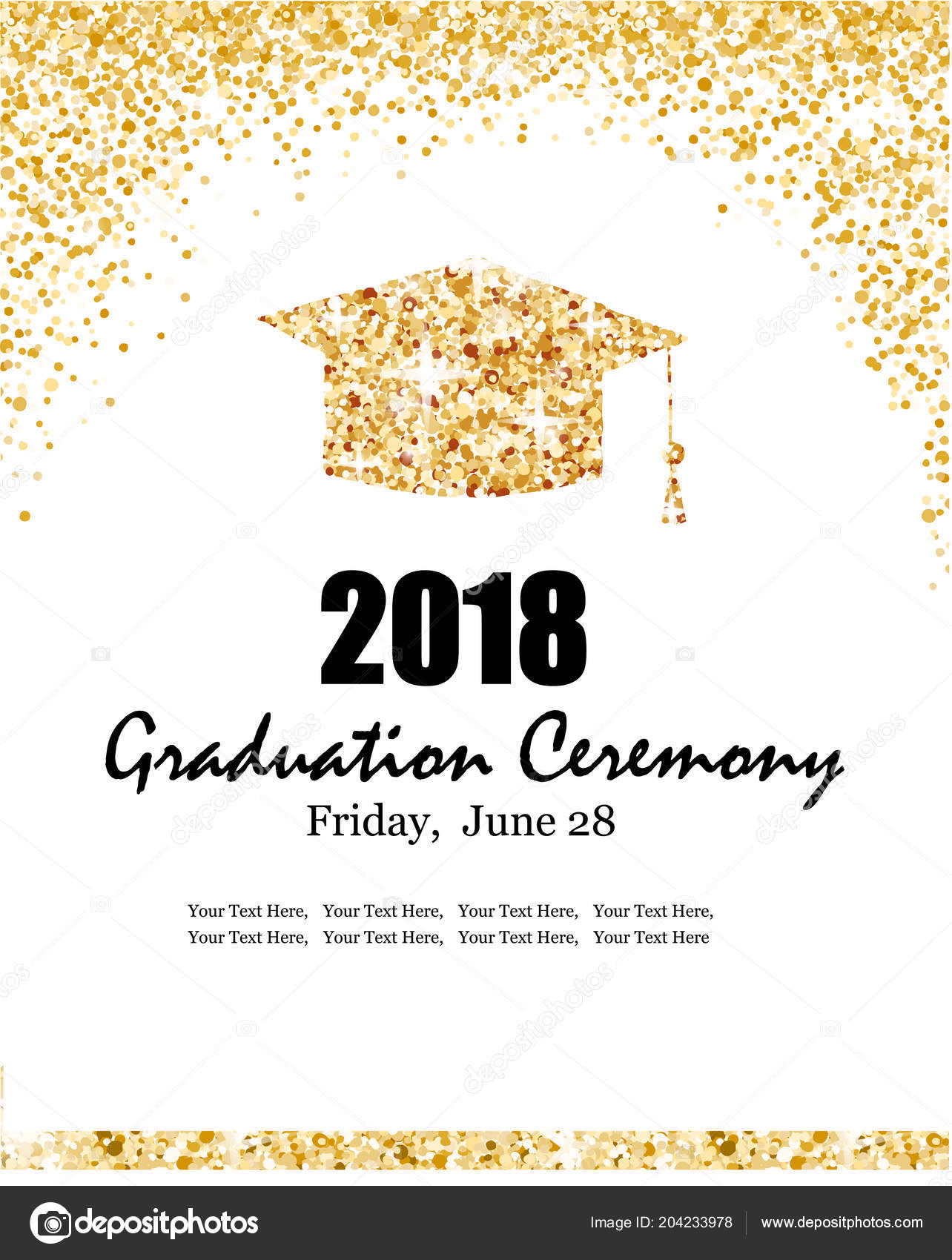 class 2018 graduation ceremony banner graduate hat gold confetti