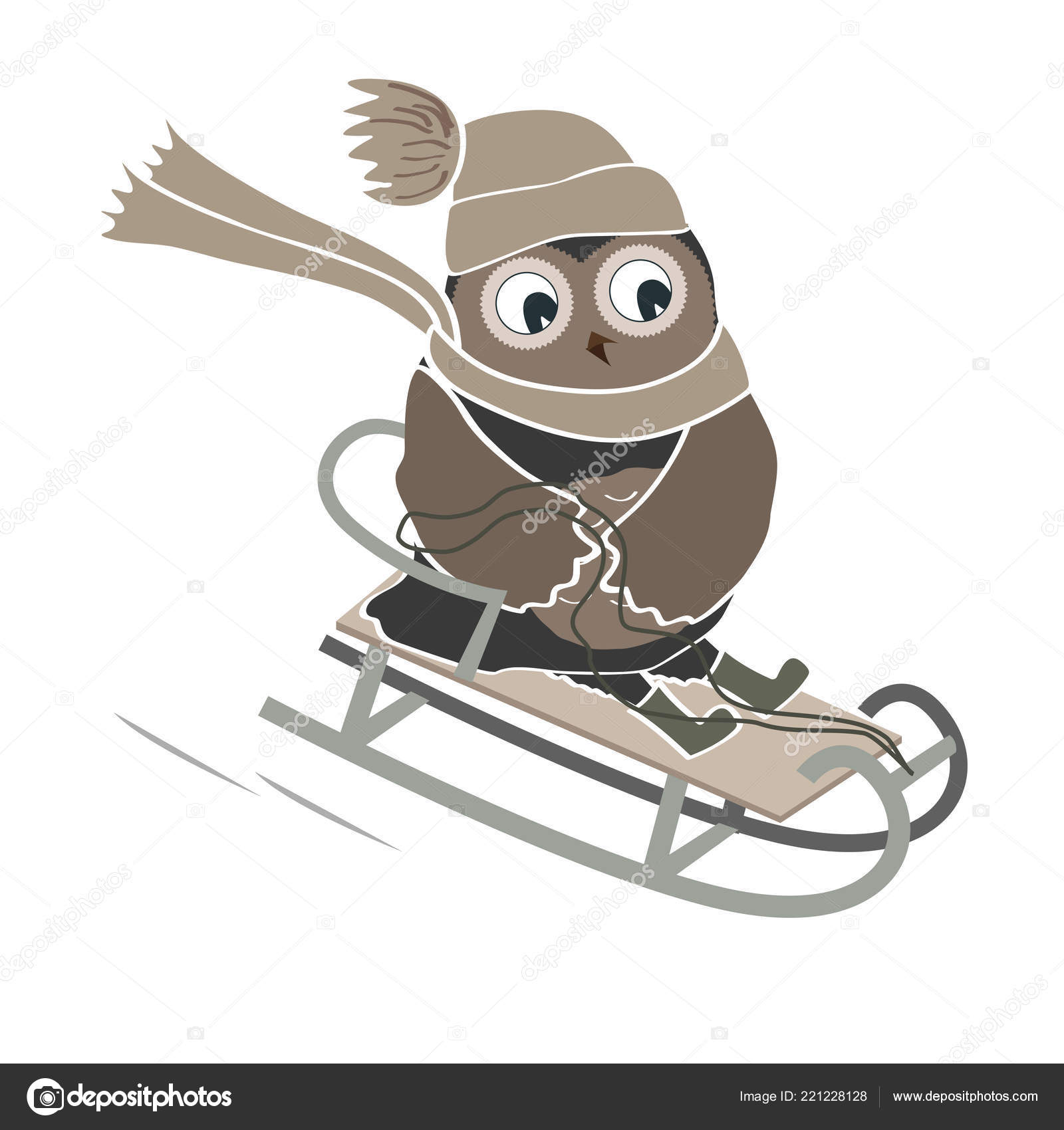 funny and cute sledging owl new year and christmas card vector illustration stock