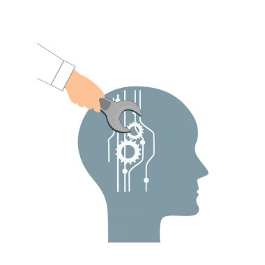 NLP or Neuro-Linguistic Programming concept. Open Human Head and a Hand with a Wrench. Manipulation, Mental health, personal development, and psychotherapy icon.