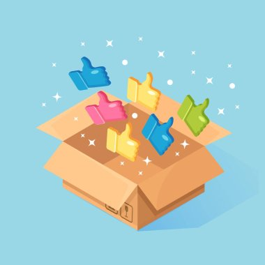 Opened cardboard, carton box with thumbs up isolated on background. 3d isometric package, gift, surprise with confetti. Testimonials, feedback, customer review concept. Vector cartoon design icon