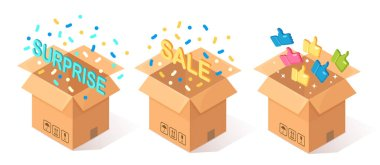 Set of opened cardboard, carton box with thumbs up isolated on blue background. 3d isometric package, gift, surprise with confetti. Testimonials, feedback, customer review, sale concept. Vector design icon
