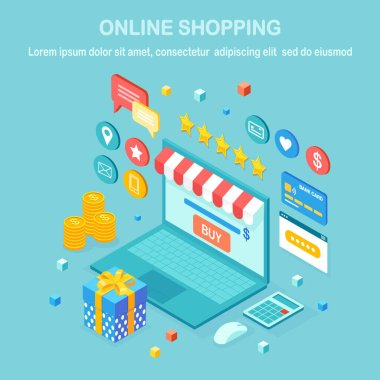 Online shopping , sale concept. Buy in retail shop by internet. 3d isometric computer, laptop with money, credit card, customer review, feedback, gift box, surprise. Vector design for web banner