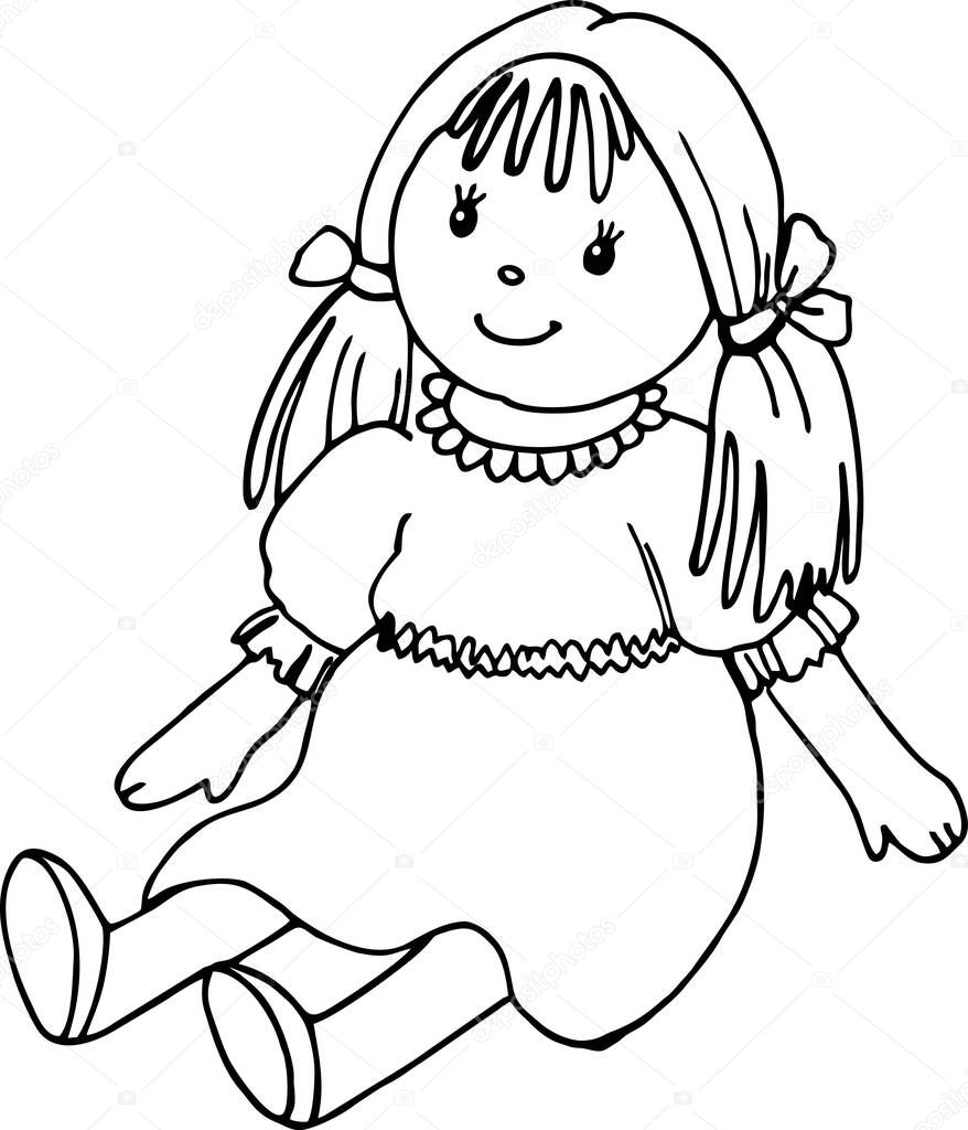 Baby doll, home, line art illustration, black and white sketch icon