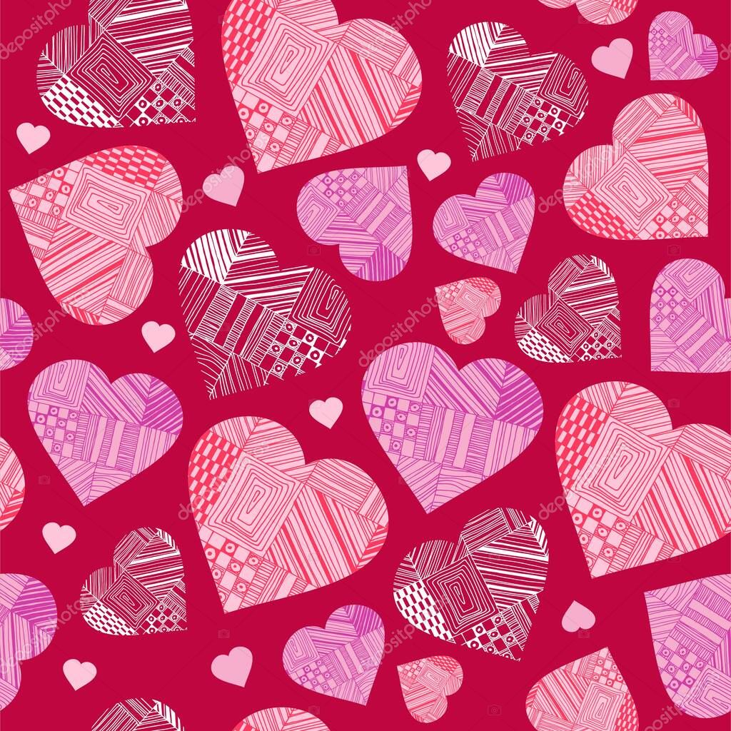 Vector hearts with patterns, seamless pattern for valentines day, character set of love, love symbol, 14 february icon