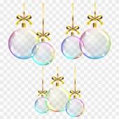 Fotografia Sfere di Natale colorate trasparente realistiche di vettore su un fondo quadrato mostrando la trasparenza degli oggetti