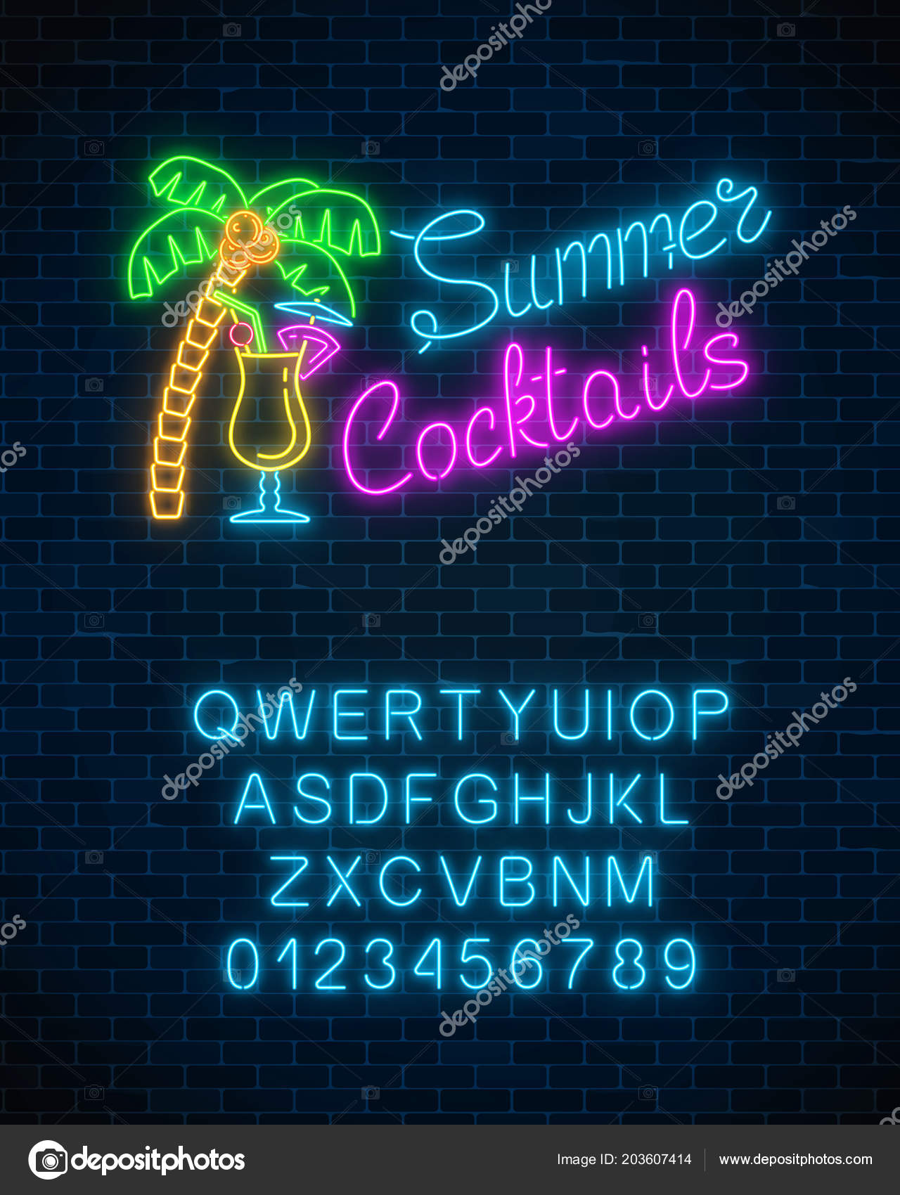 Neon summer cocktail bar sign alphabet brick wall background glowing glowing gas advertising with pina colada alcohol shake and palm night club invitation vector illustration vetor de generationclash85gmail stopboris Choice Image