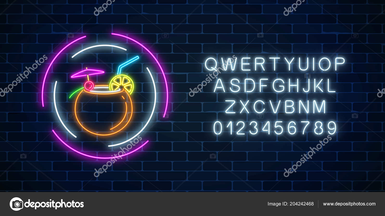 Glow neon sign cocktails bar alphabet template dark brick wall glowing gas advertising with alcohol shake in coconut night club invitation vector illustration vetor por generationclash85gmail stopboris Choice Image