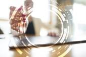 Virtuální obrazovka podnikání, technologie a internet koncept