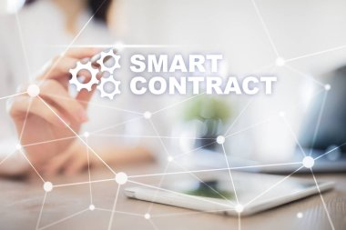 Smart contract, blockchain in modern business technology.