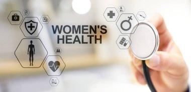 Womens health. Medical Healthcare concept on virtual screen.