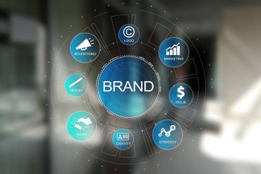 Brand diagram concept on virtual screen. Awareness increase, Design, Marketing and advertising solution in Business.
