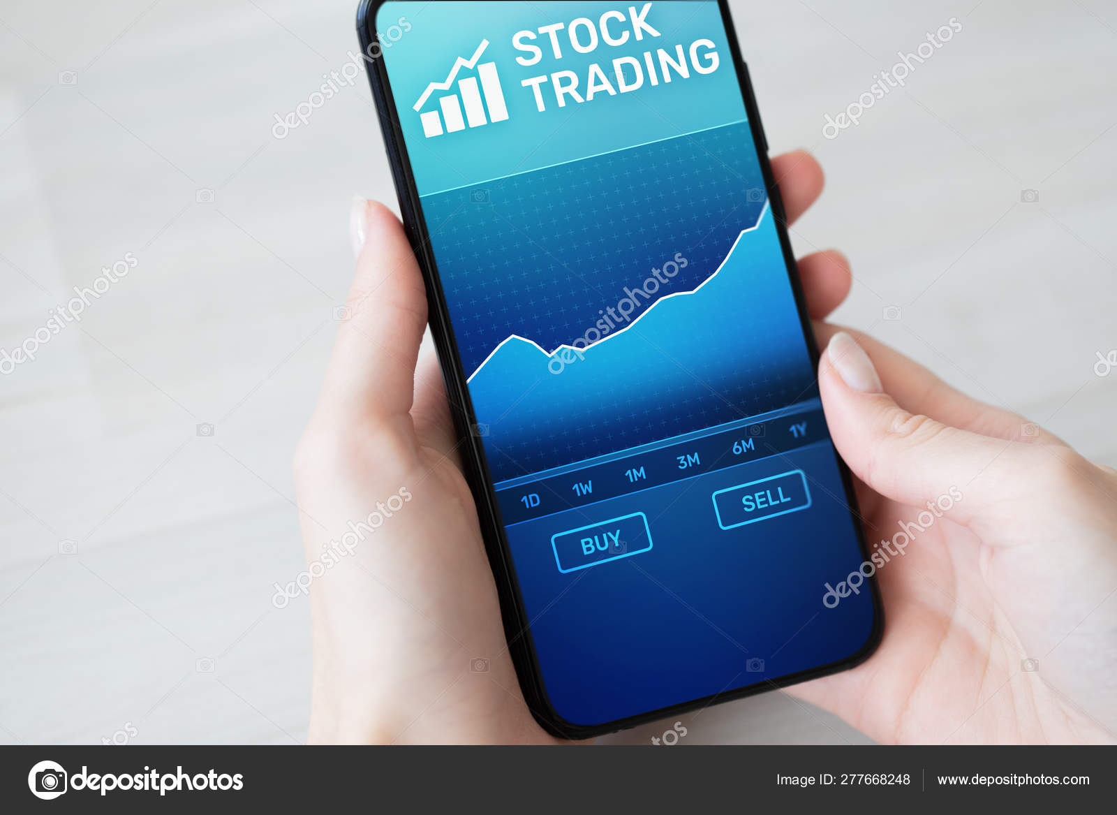 Mobile trading application with stock market chart on smartphone