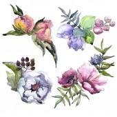 Csokor vadvirágok elszigetelt akvarell stílusú.