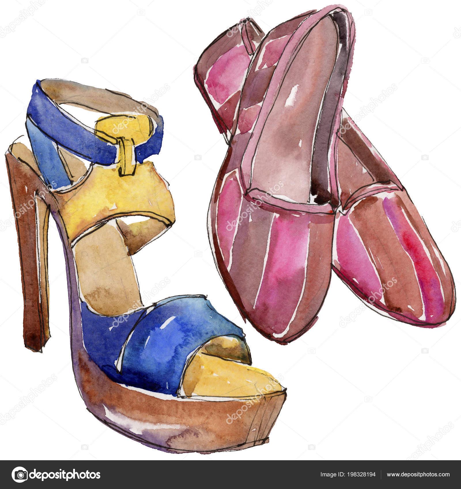 e860f137402 Обувь эскиз Иллюстрация гламур моды в стиле акварели изолированы.  Аксессуары набор мода модный наряд. Акварель моды эскиз для фона