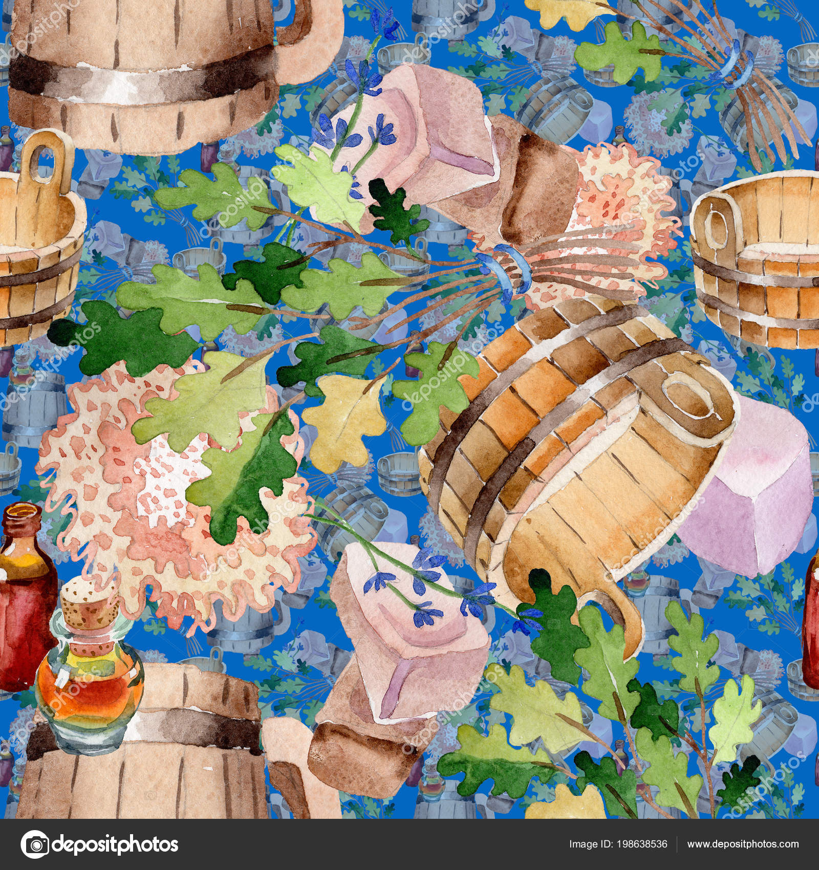 Accessories Sauna Spa Illustration Seamless Background