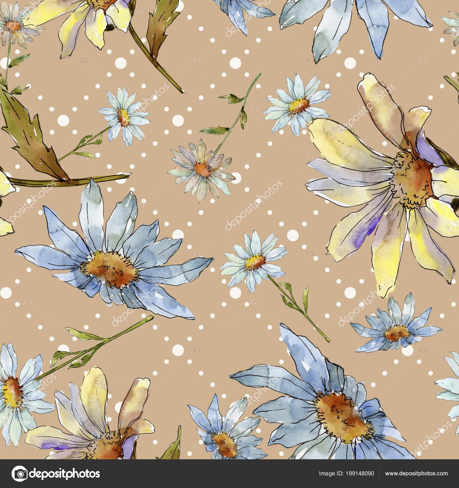 Wildflower Daisy Floral Botanical Flower Seamless Background