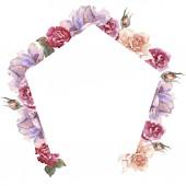 Fotografie Bunte Rosen. Floral botanische Blume. Frame Border Ornament Platz. Aquarell Wildblumen für Hintergrund, Textur, Wrapper Muster, Rahmen oder Grenze