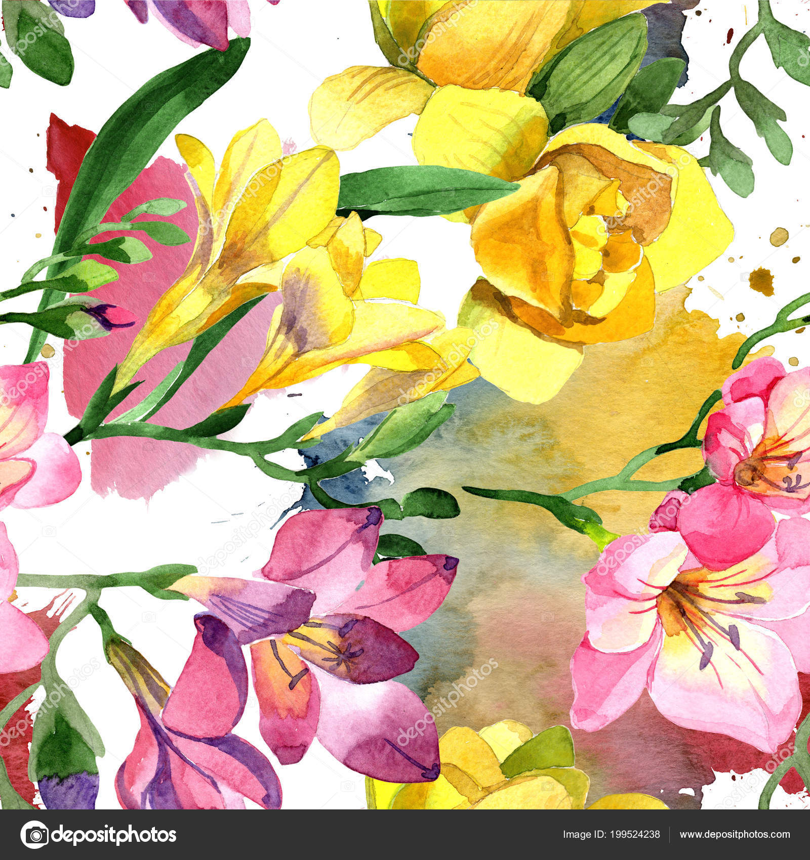 Colorful Freesia Floral Botanical Flower Seamless Background