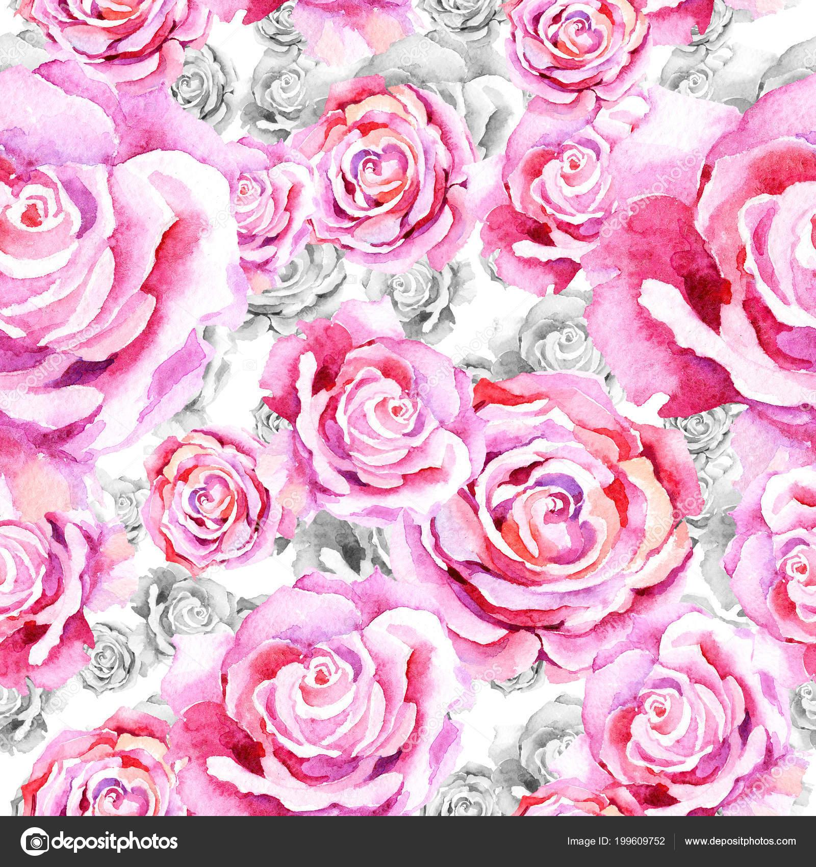 Delicate Pink Rose Floral Botanical Flower Seamless Background