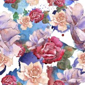 Photo Colorful roses. Floral botanical flower.Seamless background pattern.
