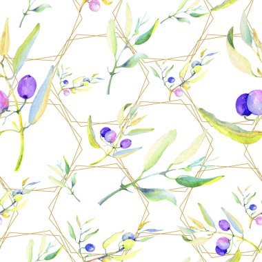 Olive branches in a watercolor style. Seamless background pattern. Fabric wallpaper print texture. Aquarelle olive tree for background, texture, wrapper pattern, frame or border.