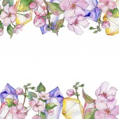 Fotografie Třešňové květy. Květinové botanické květin. Frame hranice ozdoba náměstí